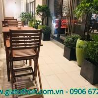 bàn ghế cafe gỗ cao su