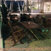 Bàn ghế cafe gỗ xếp
