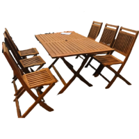 Bộ bàn ghế gỗ ngoài trời kiếu dáng đơn giản