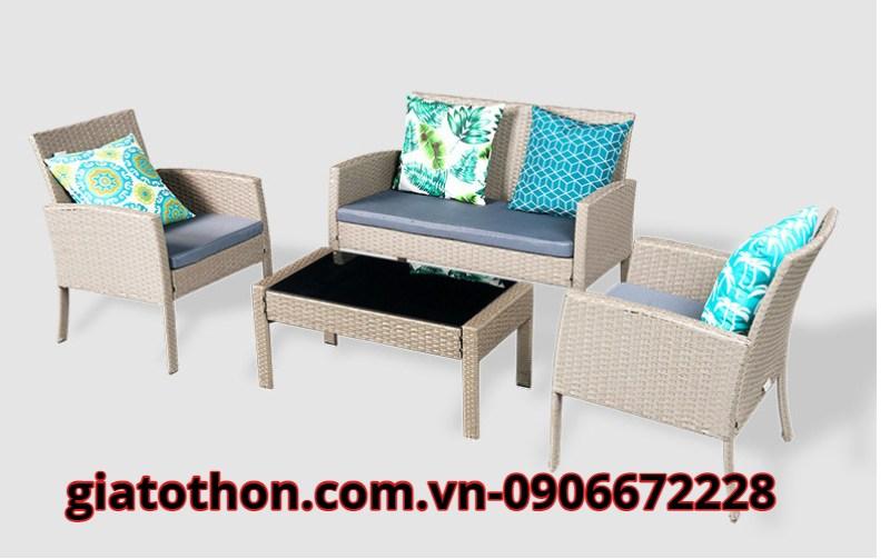 bàn ghế sofa giả mây cafe