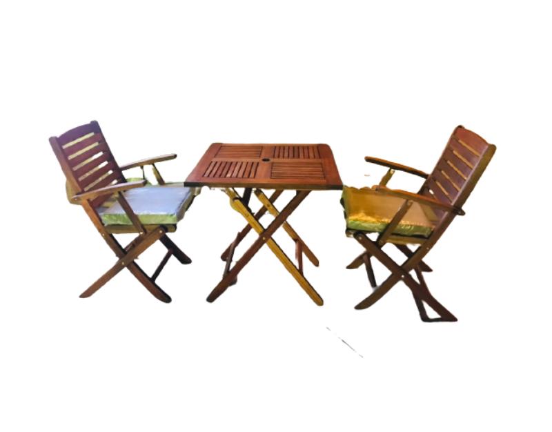 Bộ bàn ghế cafe gỗ có đệm